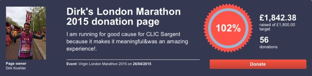 Runifico Dirk London Marathon CLIC Sargent